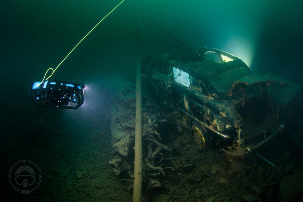 Blue Robotics underwater AUV exploring a wreck