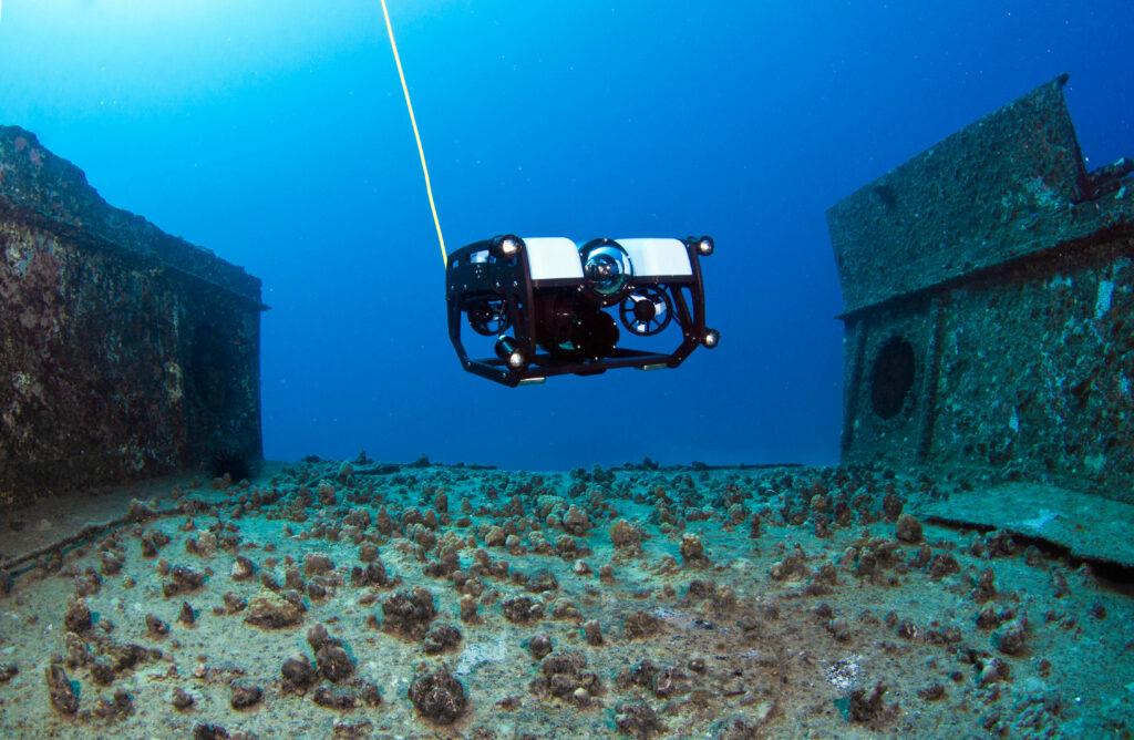 Blue Robotics underwater ROV on a shipwreck