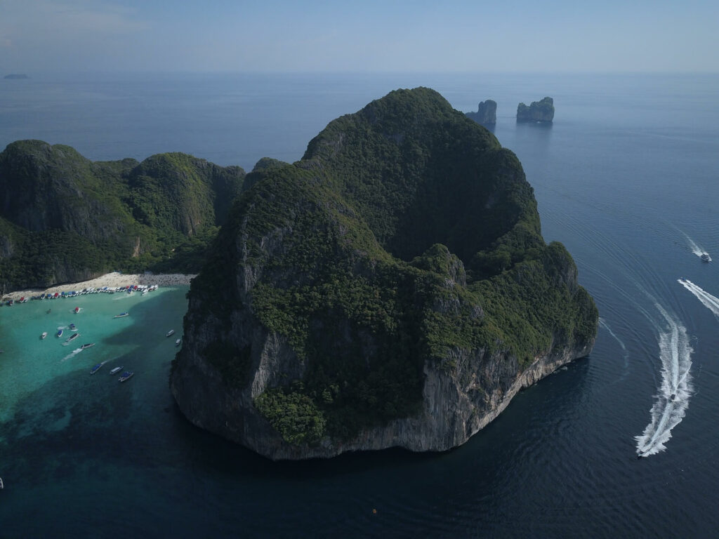 Aerial view of boats lining the beach at Maya Bay - Koh Phi Phi Lee