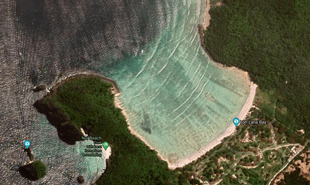 Aerial shot of Loh Lana Bay