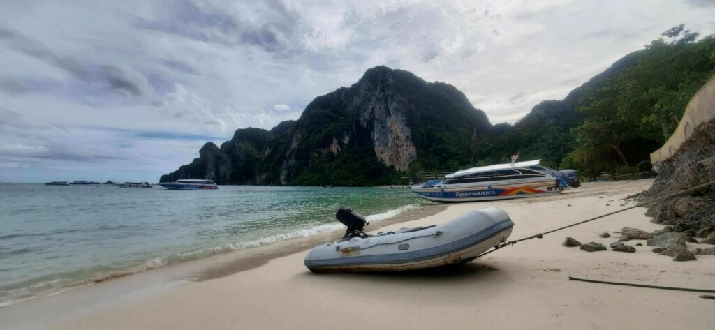 RIB dinghy in Tonsai Bay - Koh Phi Phi, Thailand
