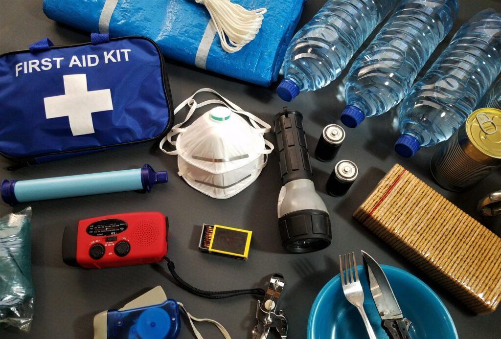 A sailing first aid kit laid out on a table